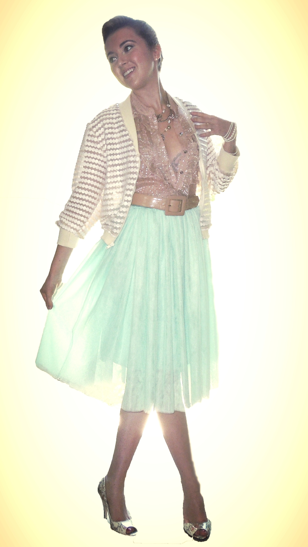 Jacket: The Dotty Jacket  Top & Skirt: Vintage finds  Shoes: Steve Madden  Belt: Nordstrom