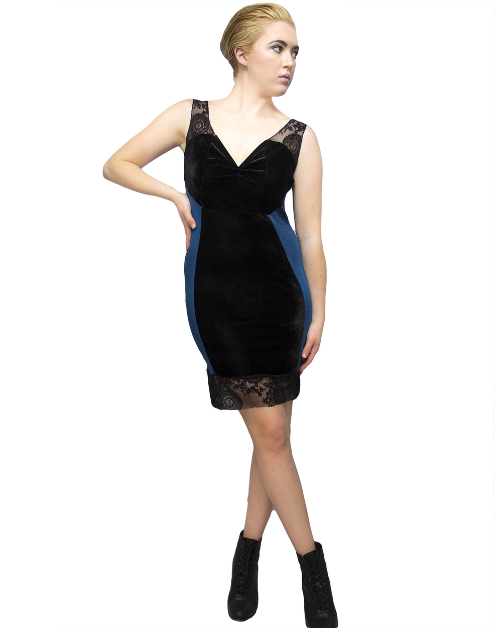 Velvet Lace Bodycon Dress Front - Line Sheet.jpg