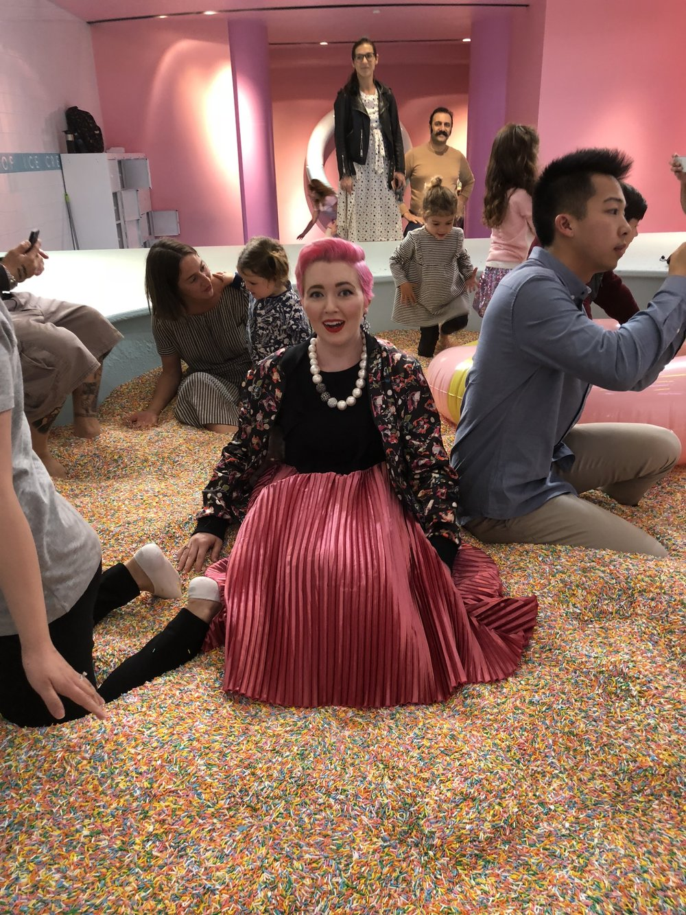 Freaking out about getting stuck in the sprinkles.
