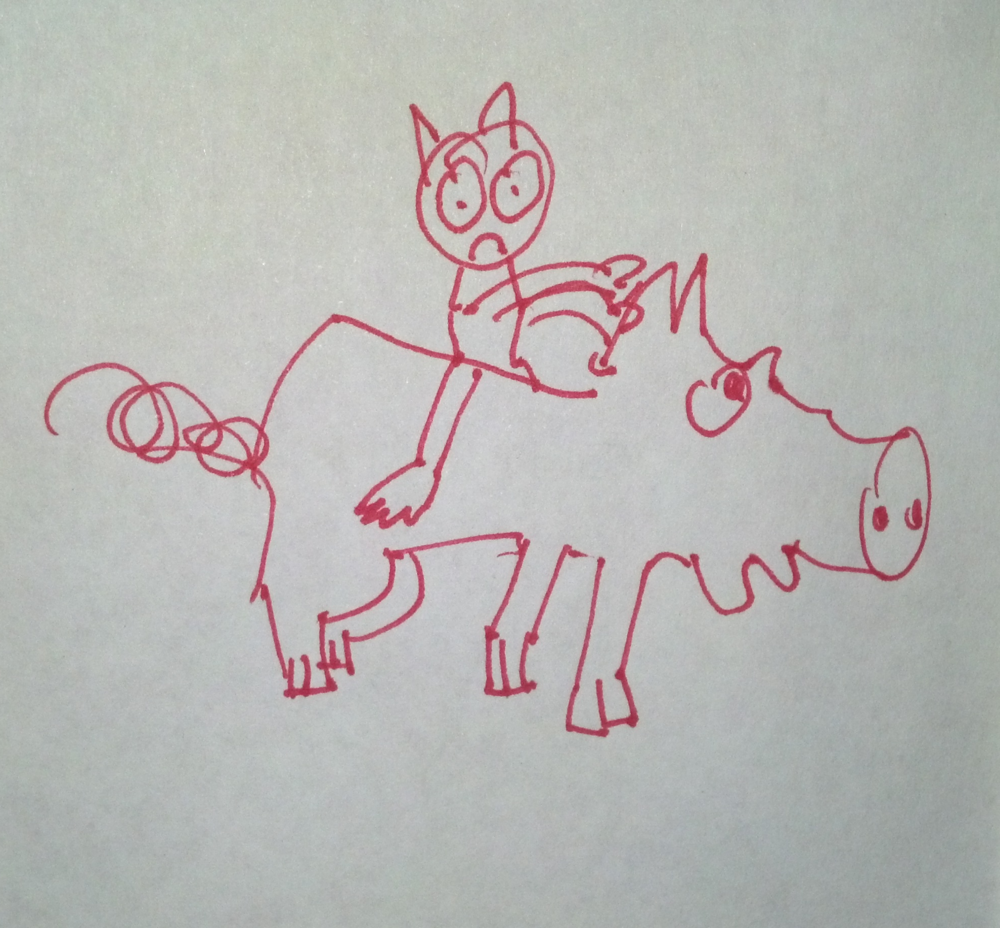 Is that monkey riding a pig? You betcha! Source:  Piddy Palms