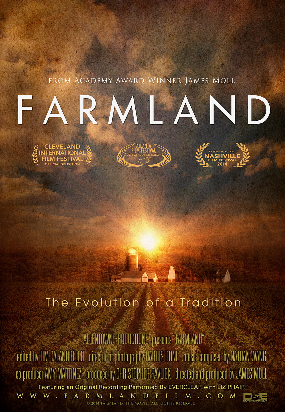 FARMLAND FARMLAND takes an intimate look at the lives of farmers and ranchers in their twenties, all of whom are now responsible for running their farming business. Learn about their high- risk/high reward jobs and passion for a way of life that has been passed down from generation to generation, yet continues to evolve.  Directed by ACADEMY® AWARD WINNER James Moll, come meet America's farmers and find out where your food really comes from.