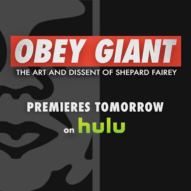 It's almost here! 'OBEY GIANT: The Art And Dissent Of Shepard Fairey' premieres TOMORROW on @hulu  #wethepeople #obamahopeposter #obeygiant #andrethegiant #roddypiper #earthcrisis #mayday #allegedgallery #obeygiant #andre #hulu