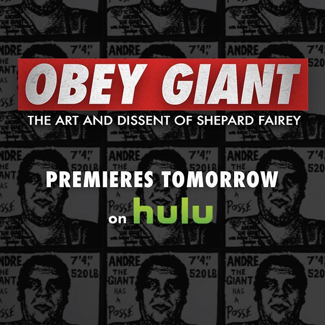 'OBEY GIANT: The Art And Dissent Of Shepard Fairey' is now STREAMING LIVE on @hulu!!! I hope you all enjoy the film!! #hulu #obeygiant #tcalandrello #twistedpumpkin #streetart #artist #art #documentary #premiere #film #theylive