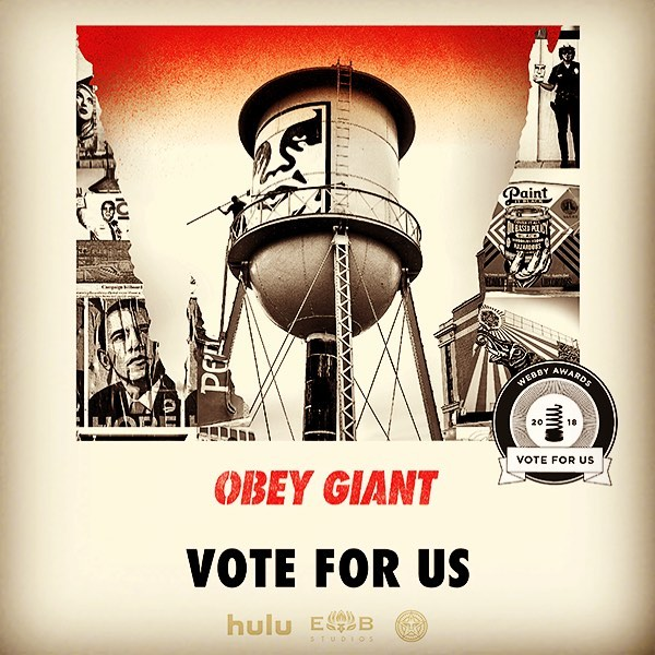 Hi Everyone! Our film OBEY GIANT has been nominated for a WEBBY for Best Documentary! If you enjoyed the film please go to the link and vote for us! VOTE: wbby.co/vid-doculong THANKS!! #Webbys #hulu #obeygiant #shepardfairey #tcalandrello #twistedpumpkin #streetart #artist #documentary