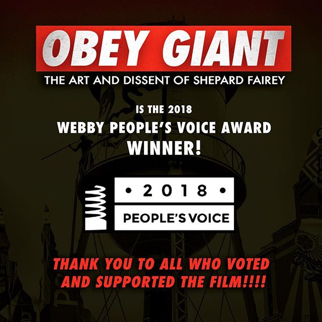 We are proud to announce that OBEY GIANT is now a 2018 WEBBY PEOPLE'S VOICE AWARD WINNER! THANK YOU TO ALL WHO VOTED AND SUPPORTED THE FILM!  #WEBBYS #hulu #obeygiant #tcalandrello #twistedpumpkin #streetart #artist #art #documentary #thewebbyawards @thewebbyawards