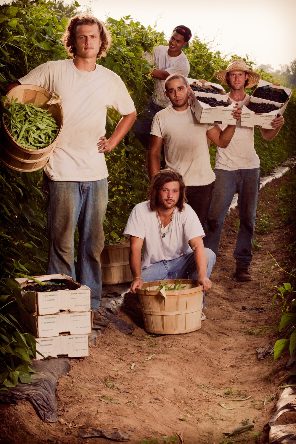 Farm boys and the day's bounty of berries...