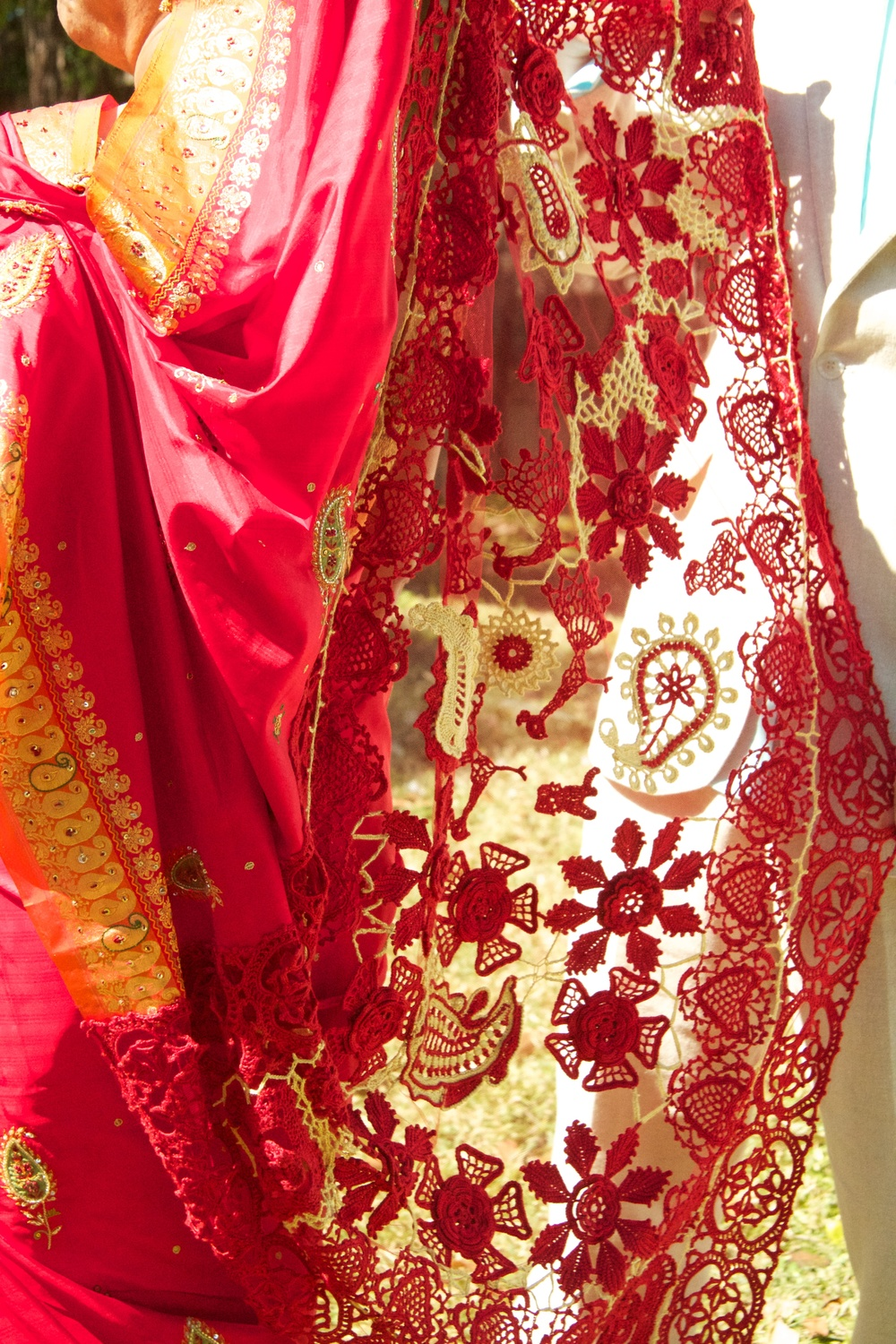 Detail of the crocheted pallu.