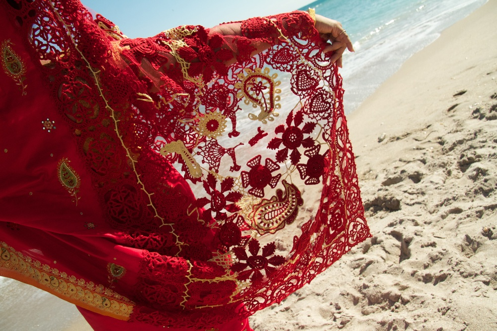 Details of the pallu on the beach.