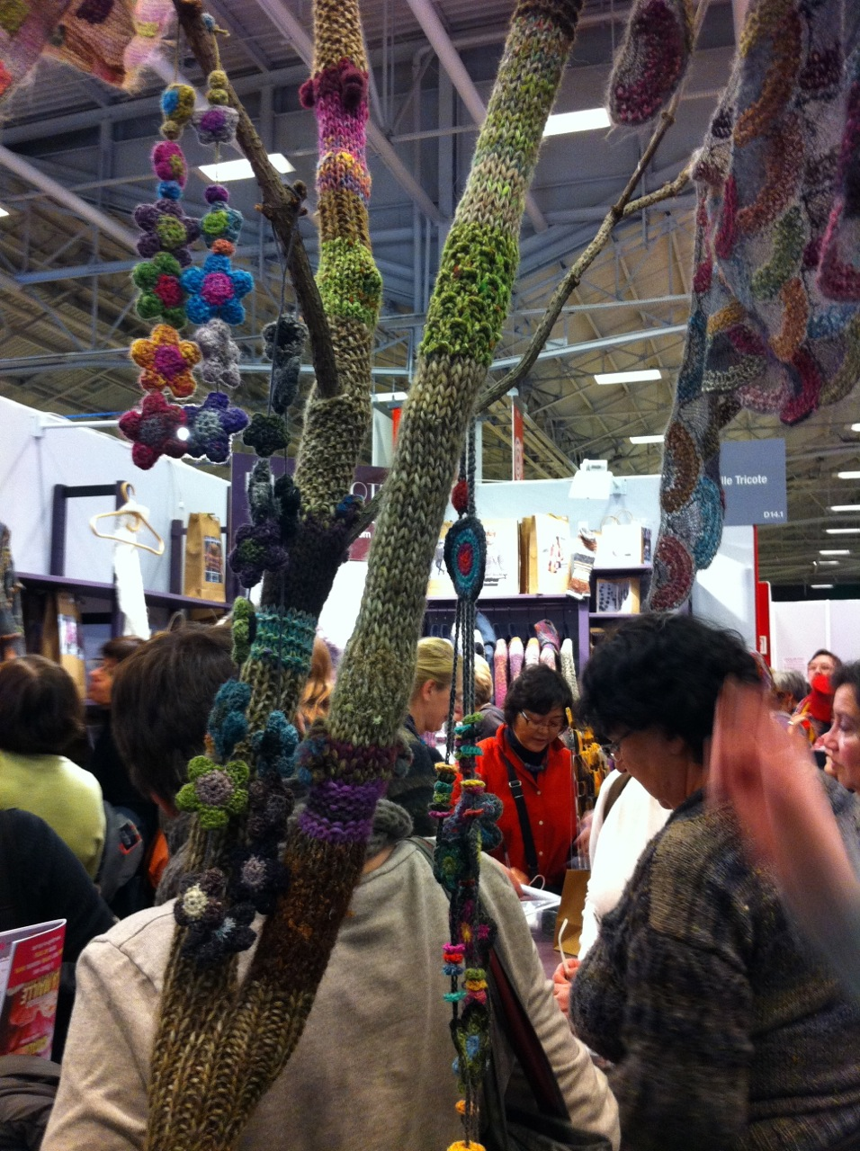 This yarn-bombed tree that was part of the display in one of the booths totally made my day.