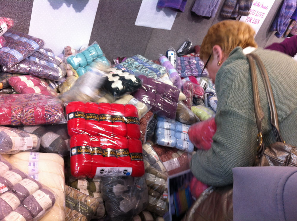 Shortly after I took this I ended up diving into this pile to try and reach a yummy bag of yarn. I threw it back though, and was rewarded with a delicious alpaca find later on!