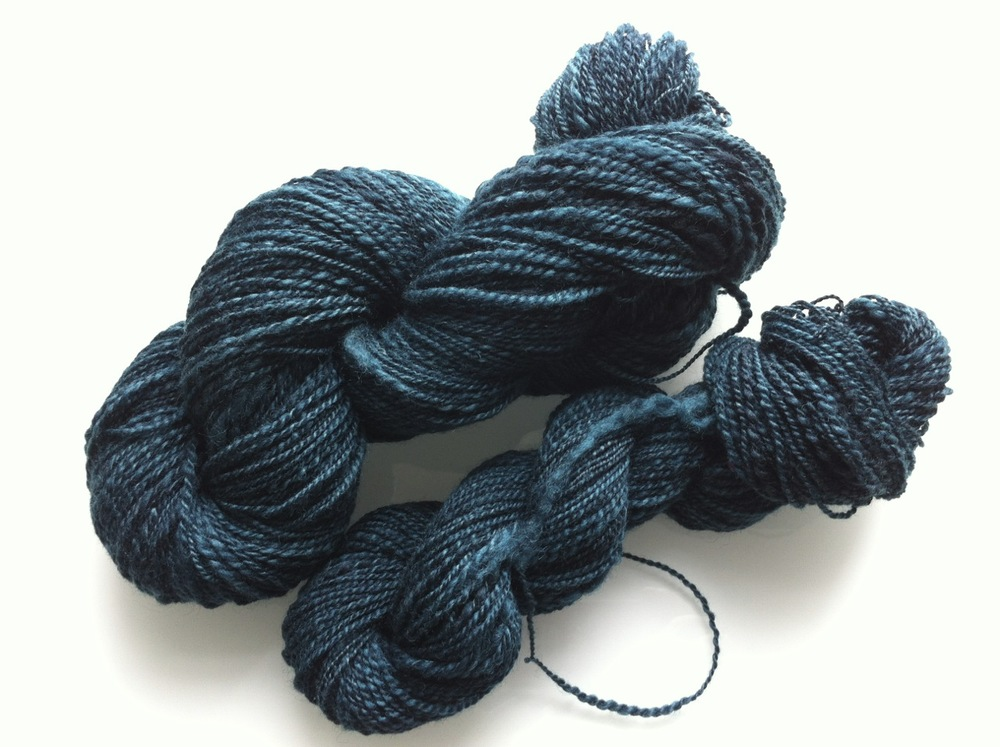 Approximately 400 yards of fingering weight in the colourway Riptide.