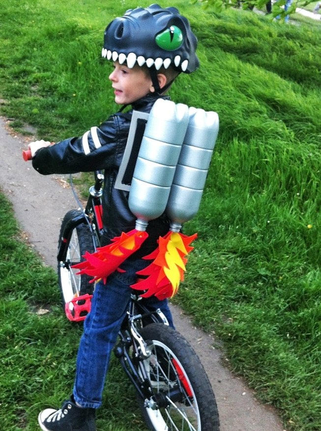 Getting the turbo jet-pack ready for a ride to school!