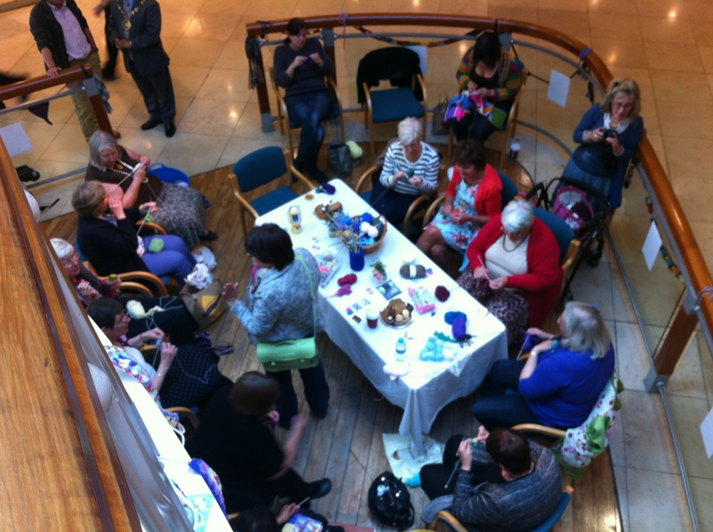 Lots of knitters gathered in Festival Place.