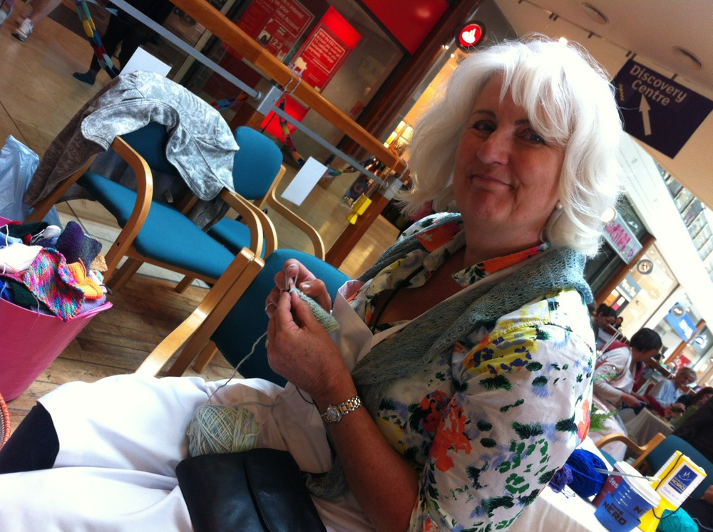 Catherine gets some knitting of her own in during a quieter moment.