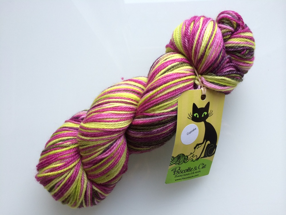 Souvenir yarn from Paris:  Biscotte & Cie  Felix self-striping sock yarn. Not exactly French, but French Canadian.