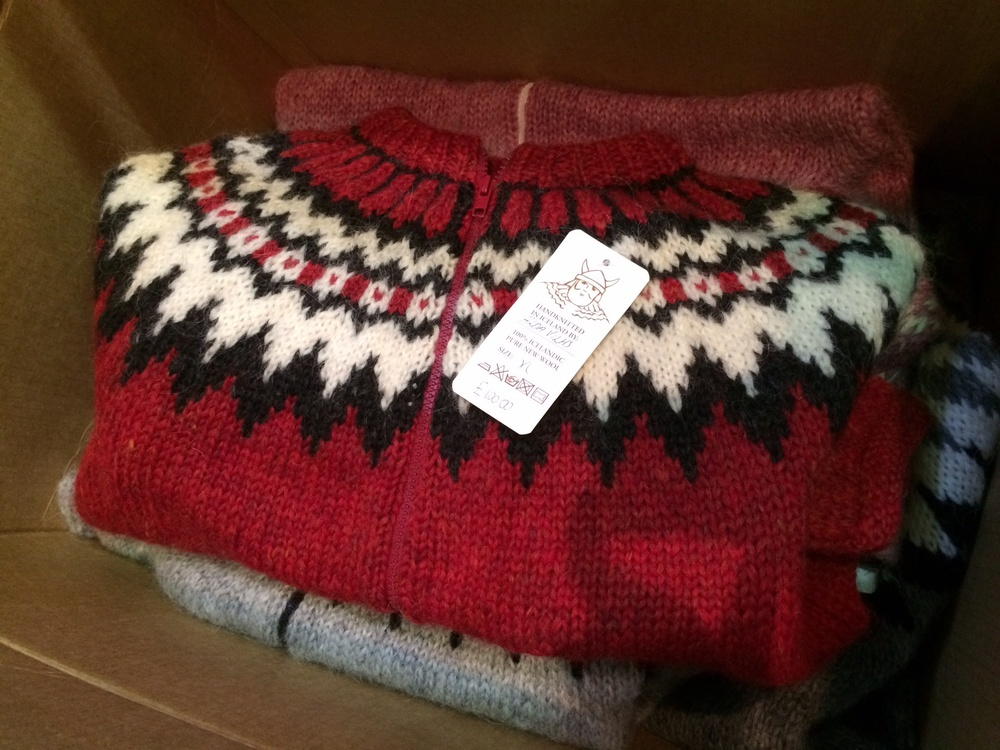 My only non-booth photo - this gorgeous Icelandic lopi sweater where the colourwork motif reminded me of little Canadian flags all the way across.
