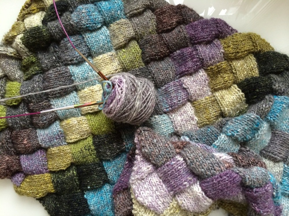 Almost finished ball 5 of 10 of the Noro Silk Garden I'm using to knit the  Lady Eleanor Entrelac Stole .
