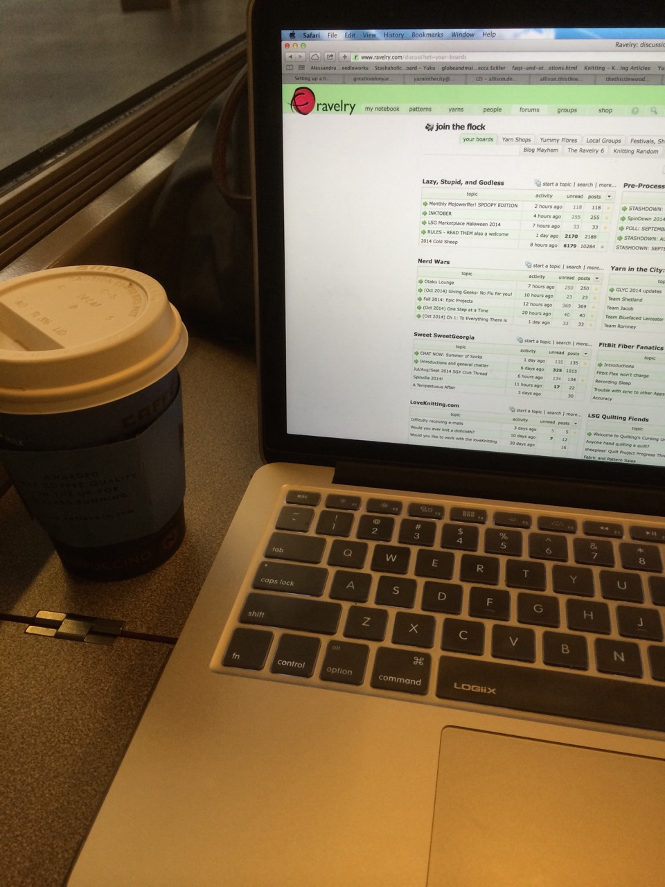 The mobile C&Q office on the Eurostar: have coffee and laptop, will travel!