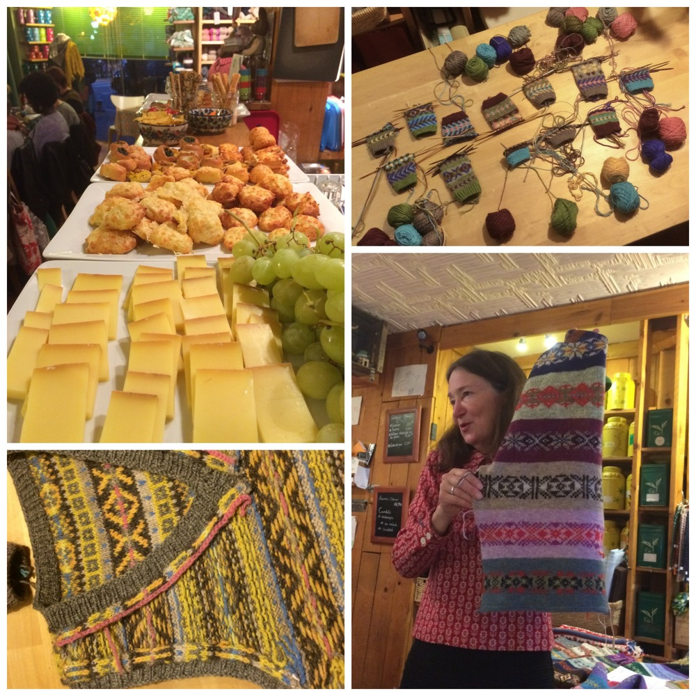 Clockwise from top left: a spread of snacks to keep us going through the class, comparing cuffs at the end of the evening, Mary Jane talks about colour theory with example swatches from her book, and the inside of the fair isle vest from Mary Jane's Craftsy class - almost as pretty as the outside!