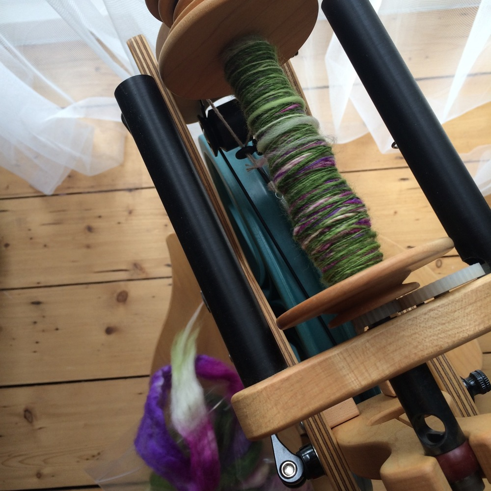 Apparently I started spinning this little braid of  SweetGeorgia Superwash BFL  fibre back in April 2014. Colourway is Spring Garden.