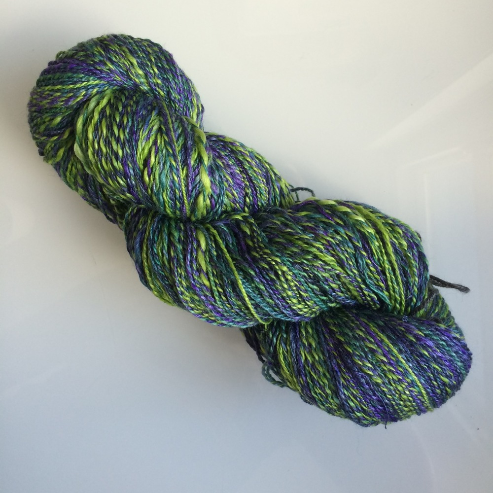 My SweetGeorgia handspun is all about gardens - this colourway is Midnight Garden