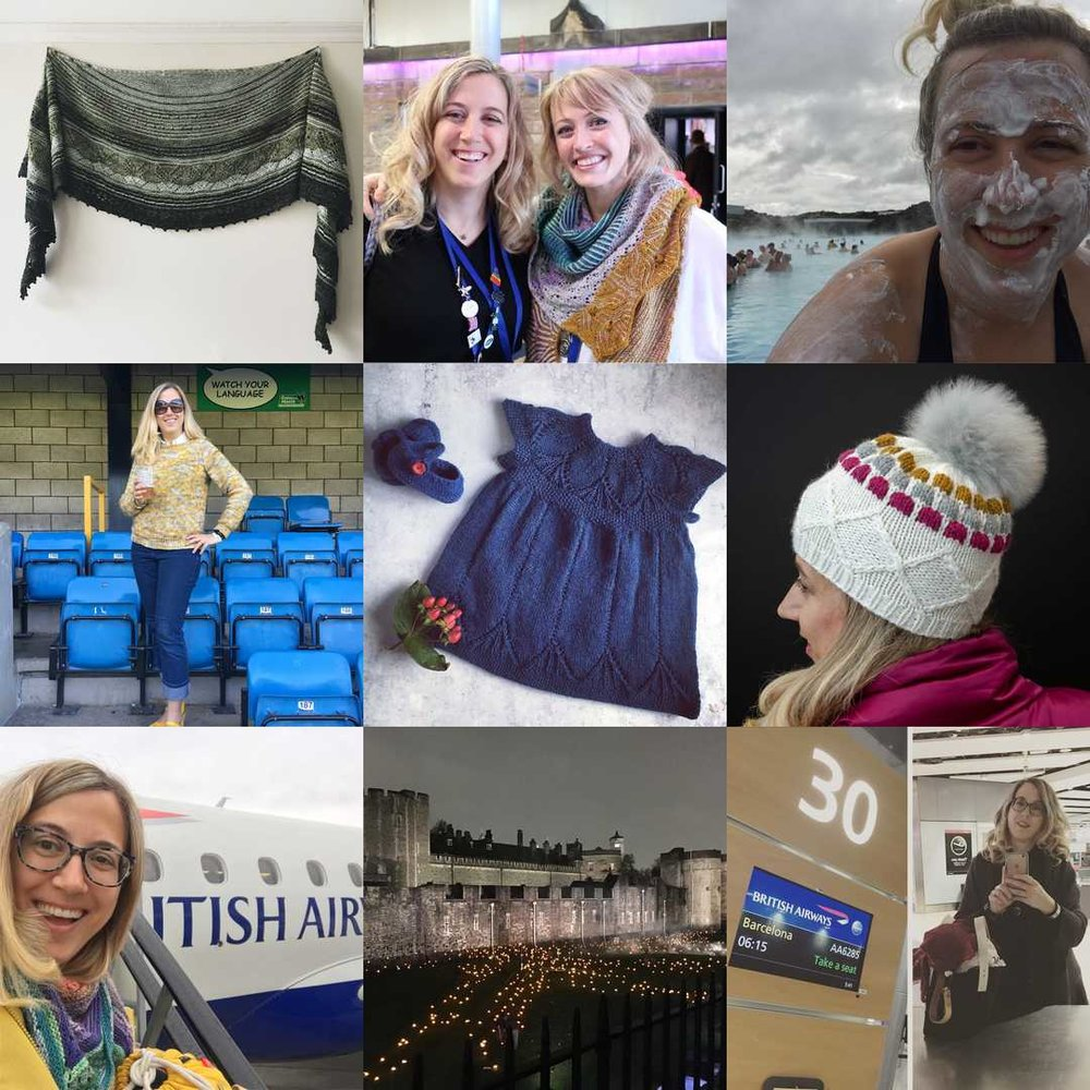 My Best Nine 2018 clockwise from top left: Impressionists MKAL, meeting Andrea Mowry at EYF, Blue Lagoon on a Reykjavik stopover, hat design for Walcot Yarns, early morning flight to Barcelona, 100 year memorial since Armistice at the Tower of London, early morning flight to Dublin, Mon Manet sweater, Clara dress.