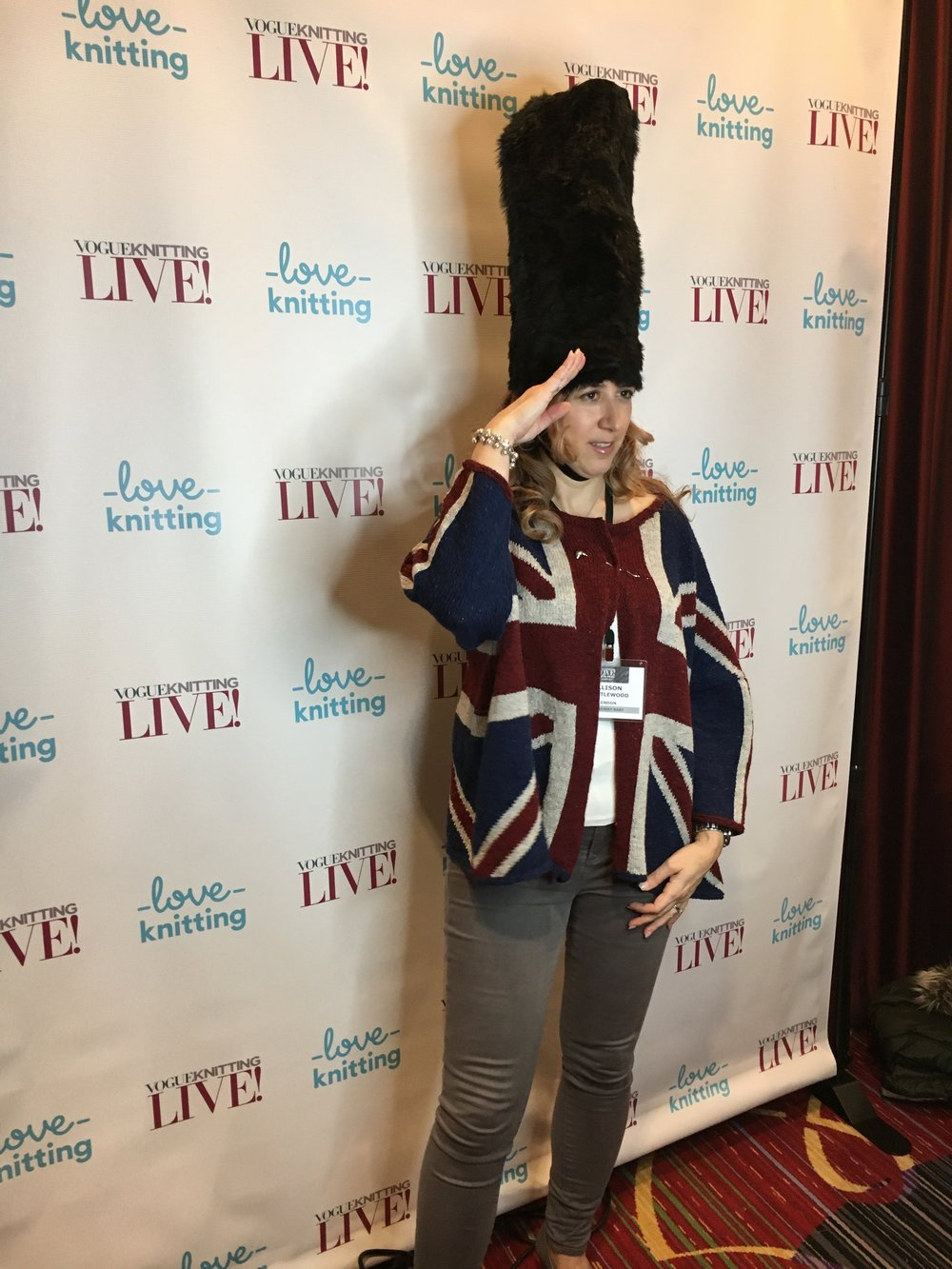 The folks at the LoveKnitting photo booth took one look at my Union Jack cardi and handed me this hat prop. I swear!