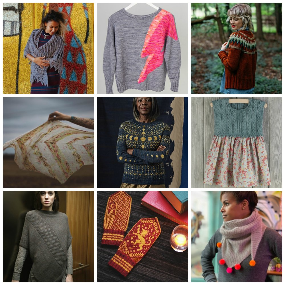 My Make Nine 2019 Plans. Clockwise from top left: Glasshouse Shawl, Volt Jumper, Throwback Cardigan, Pipit Dress, Pom Pidou Shawl, Brave at Heart Mittens, Times Square Poncho, Birds of a Feather Shawl, and the Ixchel Sweater.