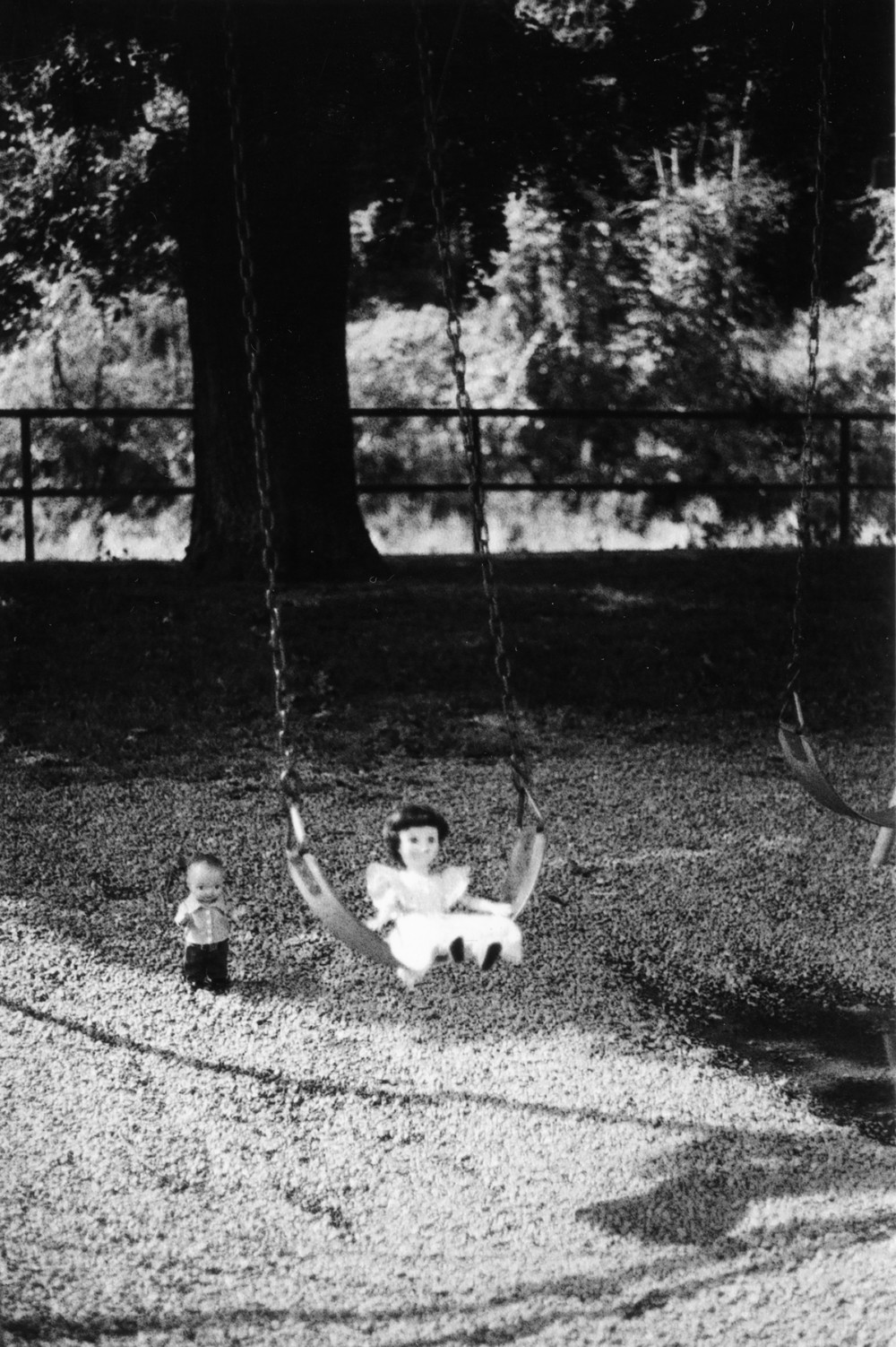 Buddy and Rosalind on a swing