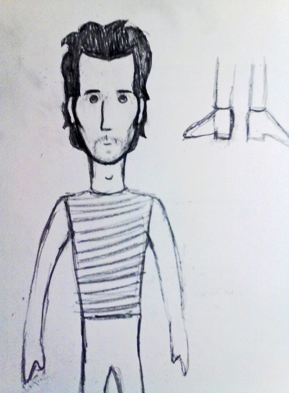 sketch of Vincent Gallo doll.