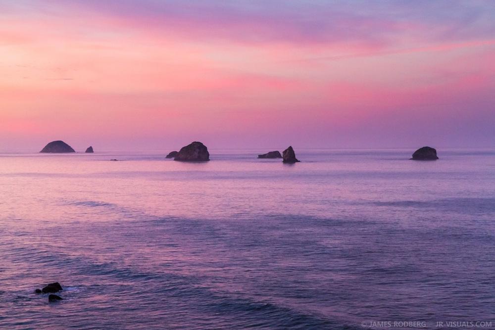 Oregon Coast Dawn Rock Formations #3313