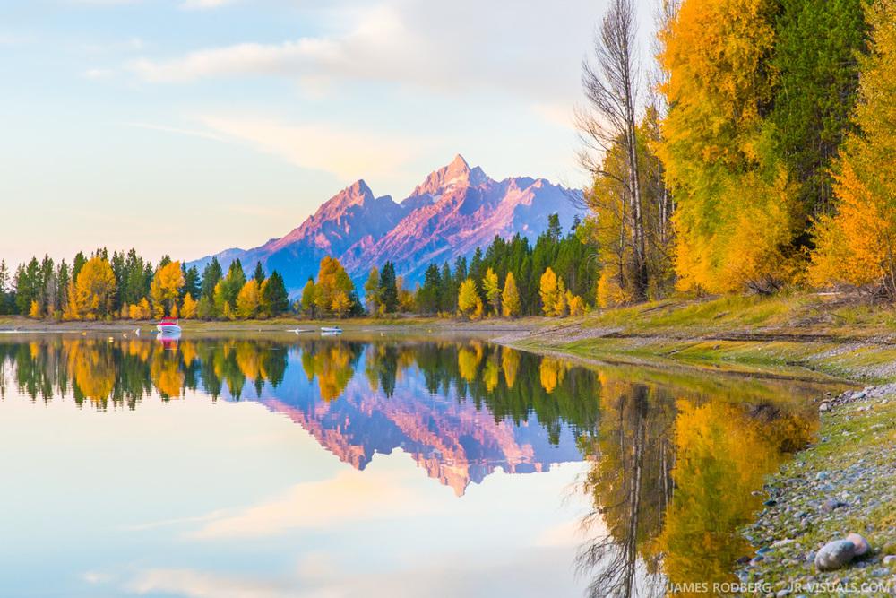 Tetons Mountains Fall Color Lake Sunrise #0965