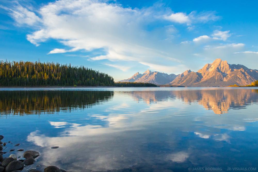 Tetons Mountains Lake Morning Reflection #0984