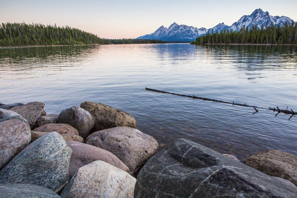Tetons Mountains Lake Morning Stones #2431