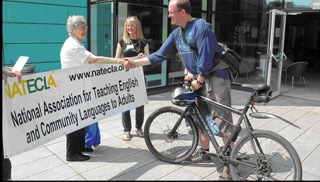 Sheila welcomes Sam Shepherd who raised funds for the Trust through a sponsored cycle ride to the NATECLA Conference 2013 in Sheffield.