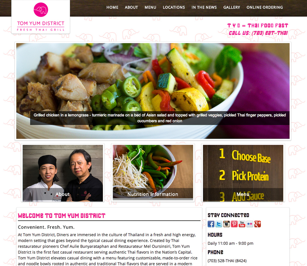 Tom Yum District's new website featuring Moshe Zusman Photography work