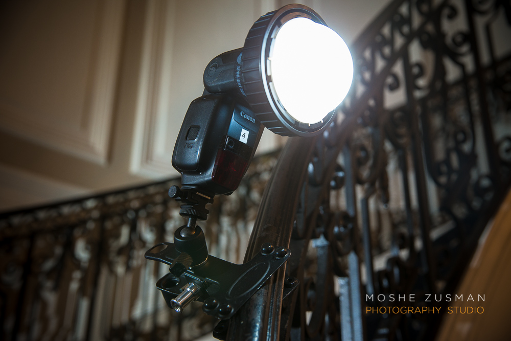 Pictured is the Kupo Clamp attached to a railing.  Mounted to the Clamp is a Canon 600ex-rt with the Spinlight 360 light modifier.  We will highlight this fantastic flash accessory in a later post, but to learn more about the dozens of different modifiers for the Spinlight 360, you can always check out their website http://www.spinlight360.com/