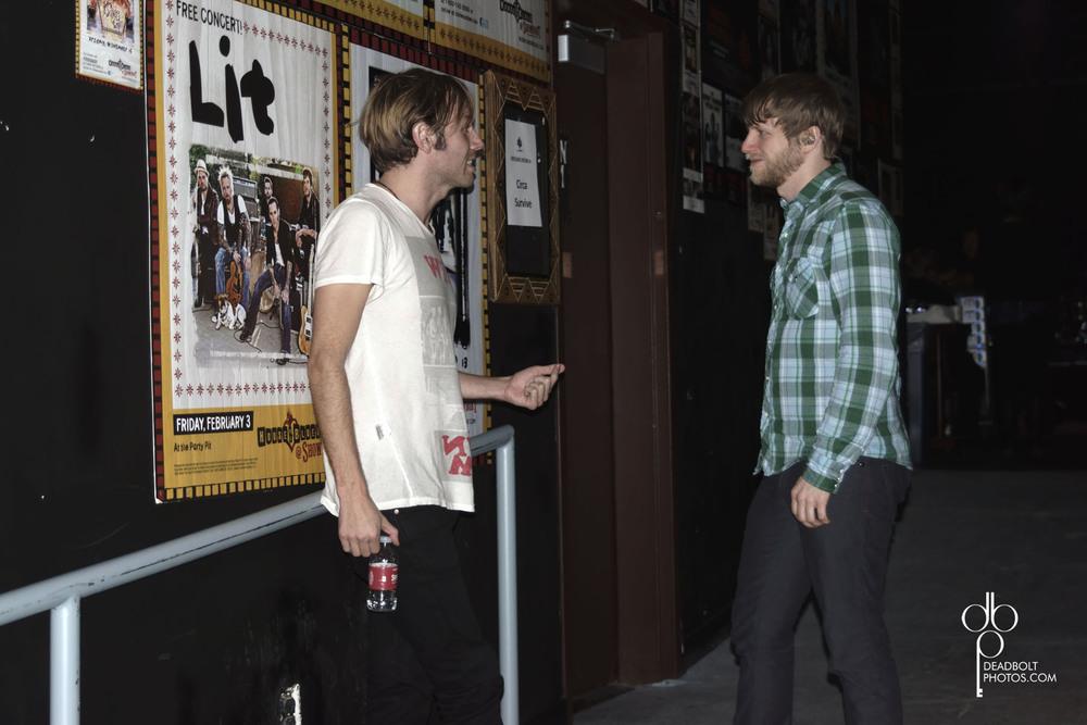 Geoff Rickly and Brendan Ekstrom backstage
