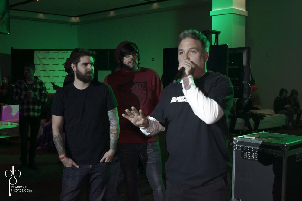 Gamechanger Boss, John D. with Senses Fail and Video Game Artist Clay Graham.