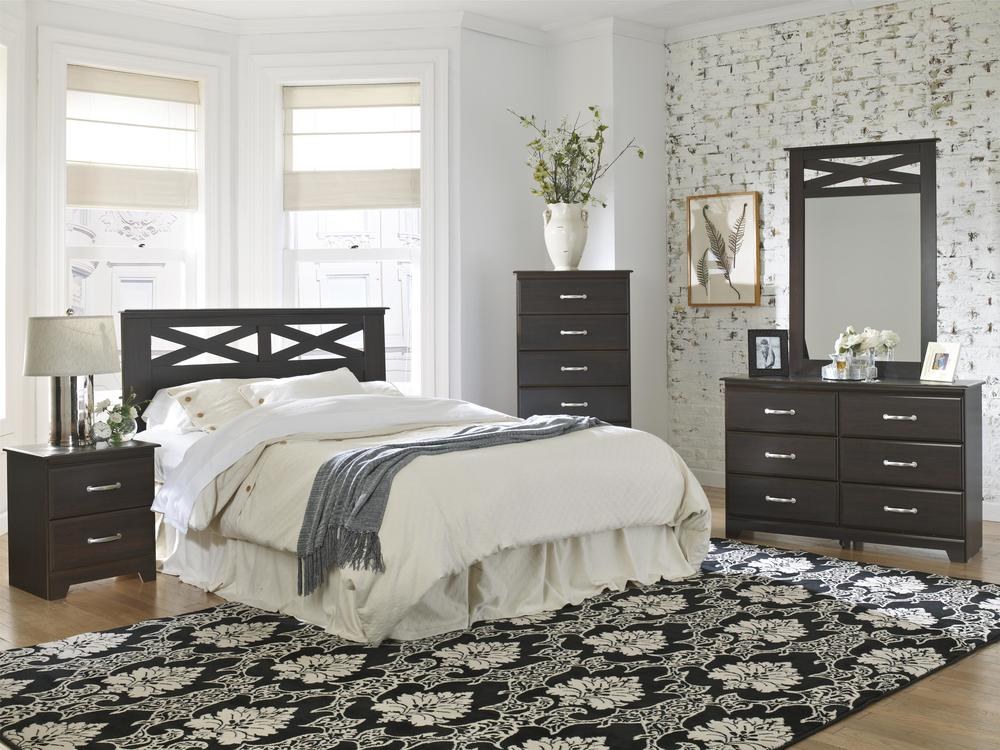 Bedroom set includes dresser, mirror, chest, and a full/queen headboard!