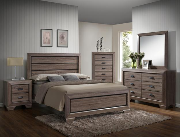 Bedroom set includes dresser, mirror, chest, and queen bed.  Now with a FREE nightstand!  Just $799!