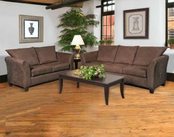 Shop our best selling sofa and loveseat set; the Sienna Chocolate for only $498!! Click on the image for more details!