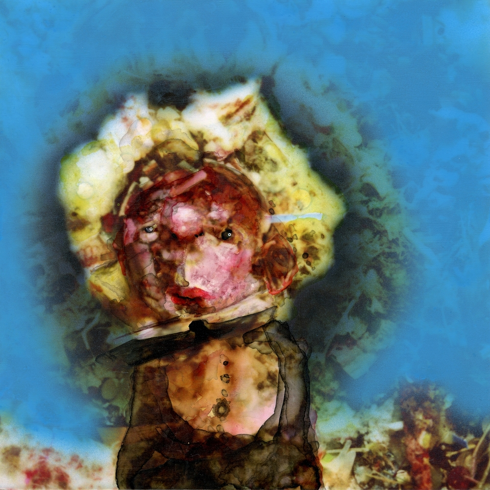 Untitled Negative Man  India ink on Kodak Endura print mounted to styrene 8x8 inches 2012