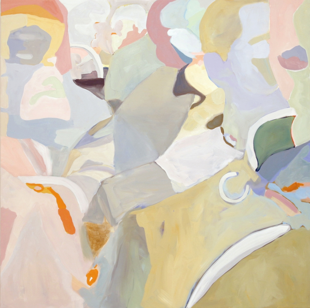"Transit Crowd, 2015, 72X72"" oil on canvas"