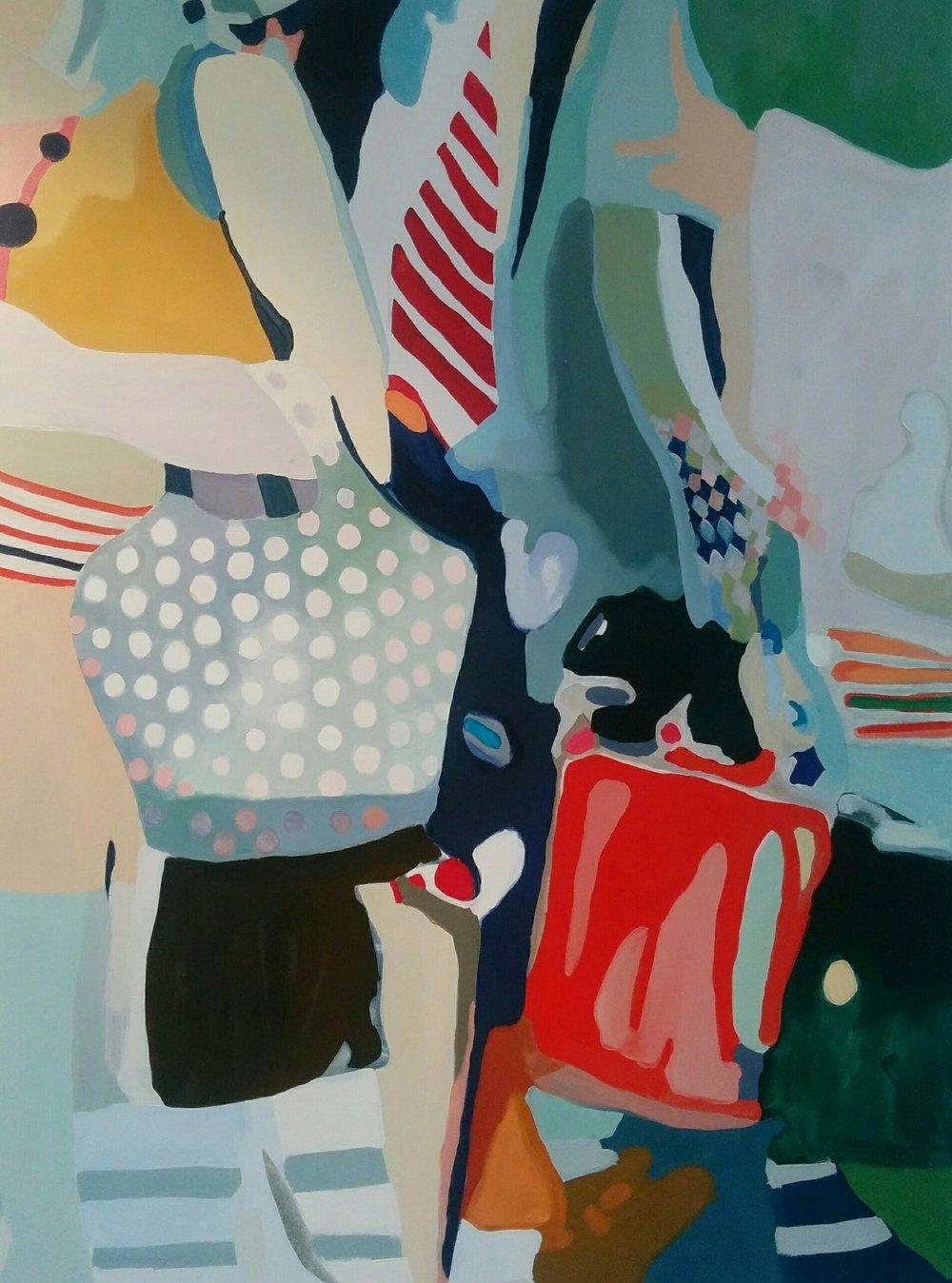 "Pedestrian Commute, 2016, oil on canvas, 45x60"""
