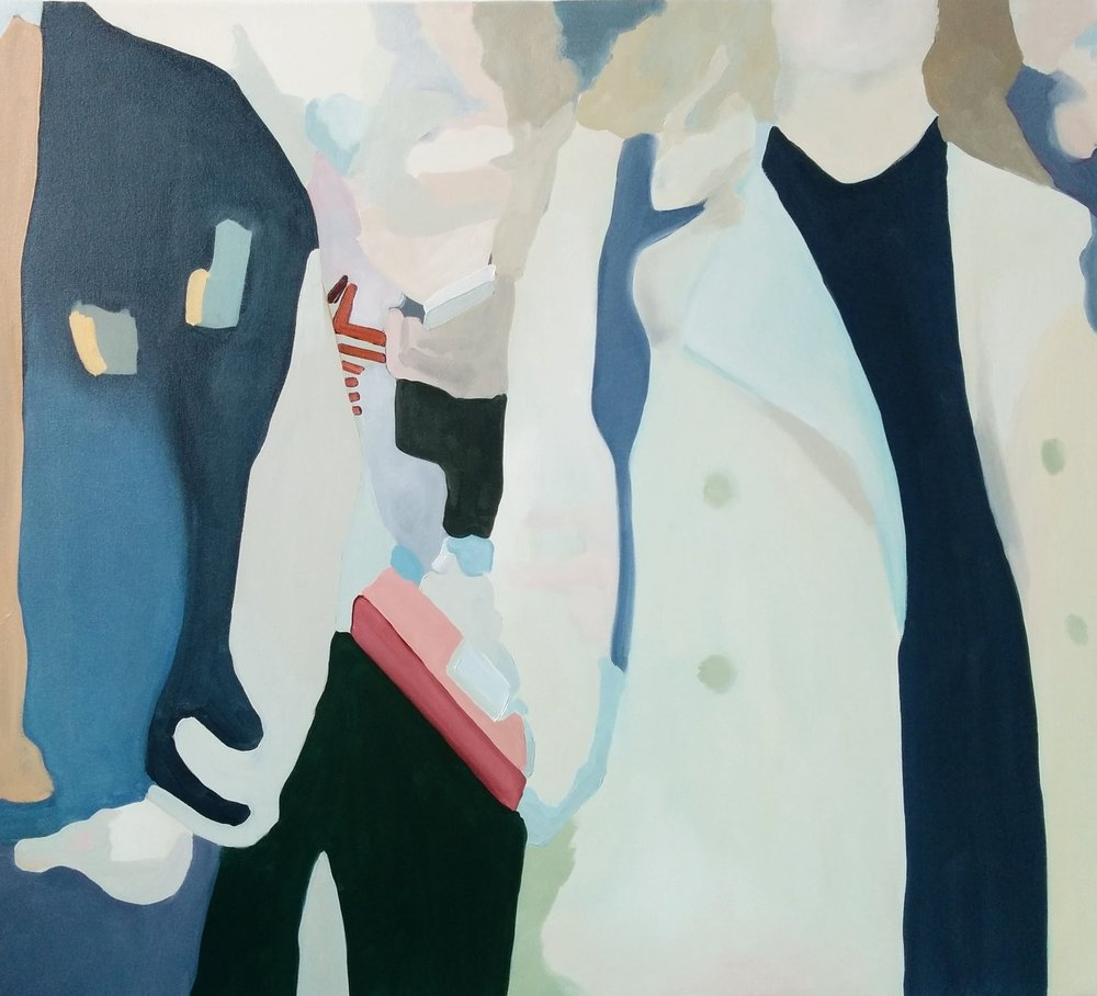 "Pedestrians Approaching, 2017, 40x36"" oil on canvas"