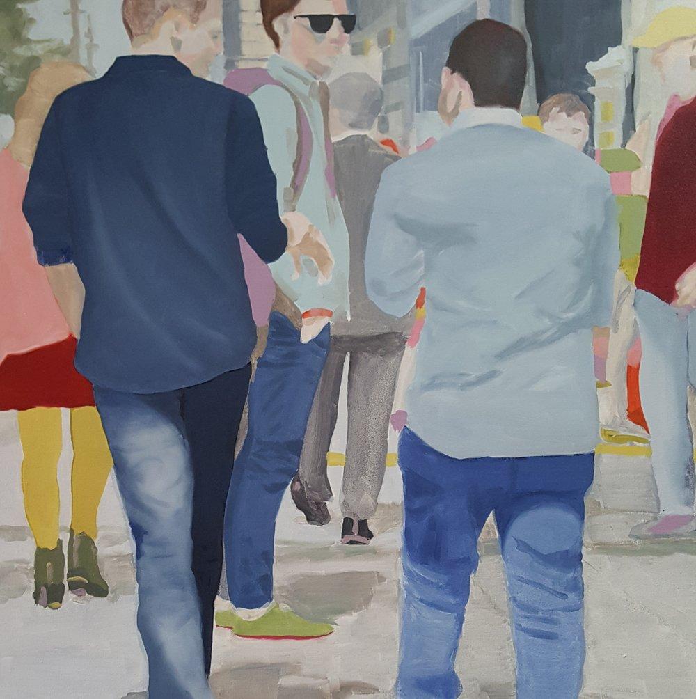 """Denims, 2018, oil on canvas, 30x30"""""""