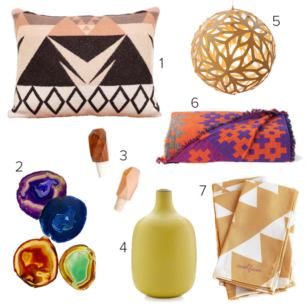 1. Scout and Whistle, geometric wool pillow, $60 | 2. Rablab, colored agate coasters, $60 | 3. Leif, faceted wood bottle stopper, $22 | 4. Heath, single stem vase, $81 | 5. David Trubridge, floral light, $300 | 6. Hay, plus 9 throw, $350 | 7. Wolfum, yellow triangle napkin set of two, $40