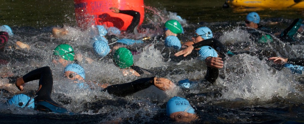 2012-08-12 at 07-32-57 triathlon, sooke, subaru, swim, start, chaos, splash, water, panic.jpg
