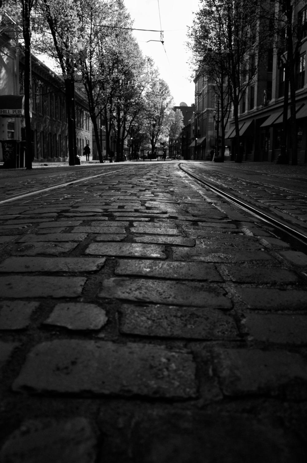 2010-03-10 at 10-37-11 street, cobblestones, tracks, train, black & white, city, urban, portland.jpg